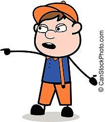 apontar, trabalhador, -, carpinteiro, falando, enquanto, vetorial, illustration?, retro, caricatura