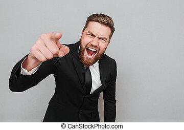 apontar, zangado, shouting, câmera, dedo, paleto, homem negócios