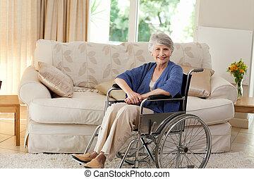 aposentado, dela, mulher, cadeira rodas