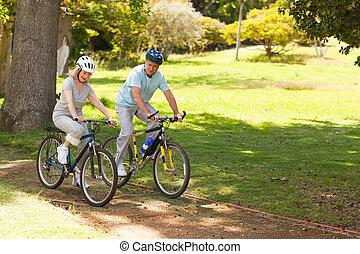 aposentado par, montanha andando bicicleta, exterior
