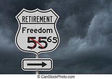 aposentadoria, eua, liberdade, rota, sinal, 65, plano, estrada, rodovia