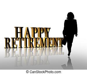 aposentadoria, ilustração, 3d, gráfico