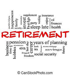 aposentadoria, palavra, &, conceito, preto vermelho, nuvem