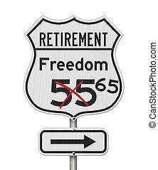 aposentadoria, rodovia, plano, eua, rota, sinal, estrada, liberdade, 65