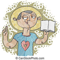 Apostil holding a bible. Hand-drawn illustration of...