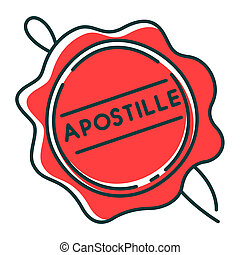 Apostille red wax seal RGB color icon. Notary services stamp...