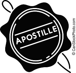 Apostille wax seal black glyph icon. Notary services stamp. ...