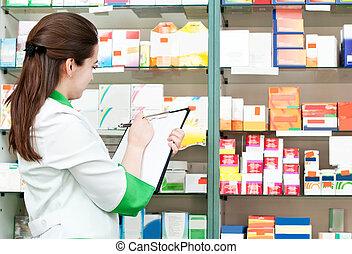 apotek, apotekare, kvinna, in, apotek