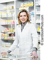 apotek, apotekeren, kvinde, ind, drugstore