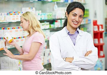 apotek, apotekeren, portræt, ind, drugstore