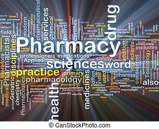 apotek, baggrund, begreb, glødende