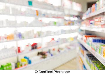 apotek, eller, drugstore, rum, baggrund