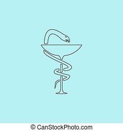 apotek, ikon, caduceus, symbol, skål, hos, en, slange