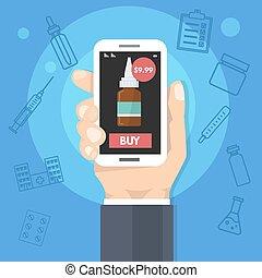 apotek, køb online, medicin, internet, sundhed, service., mand, holde, smartphone, ind, hånd., vektor, illustration.