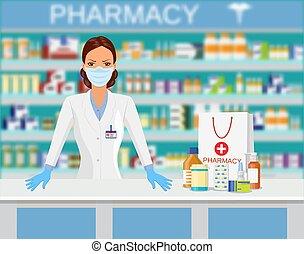 apotek, moderne, interior, eller, drugstore.