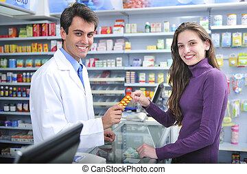 apotekaren, och, klient, hos, apotek