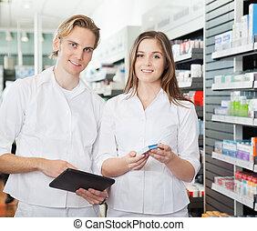 apoteker, hos, digital tablet