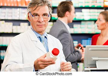 apoteker, hos, kundekreds, ind, apotek