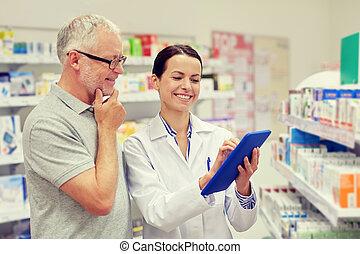 apoteker, hos, pc. tablet, og, senior mand