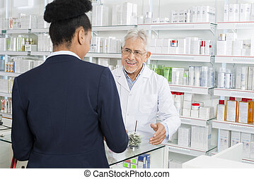 apoteker, kigge hos, businesswoman, ind, apotek