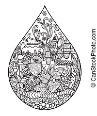 Apothecary bottles and herbs in the shape of water drop for illustration, logo, printing on product and adult coloring book. Healthy drinks, perfume, spa industrial concept. Stock Vector.