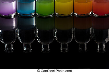 apothecary, laboratorium, flasker, hos, farvet væske, hos, reflektion