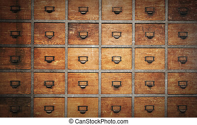 Apothecary wood chest with drawers, 30 drawers, vintage look