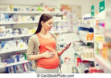 apotheek, smartphone, vrouw, vrolijke , zwangere