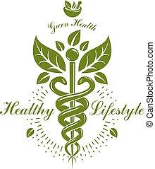 apotheke, caduceus, ikone, vektor, medizin, logo, für,...