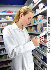 apotheker, grondig, de, rechts, geneeskunde