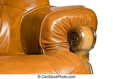 apoyabrazos, de, antigüedad, sillón cuero