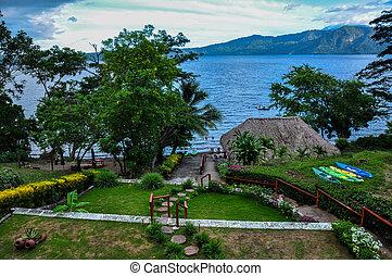 apoyo, 湖, 古老, 火山, 火山口, 尼加拉瓜