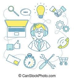 apoyo, agente, línea, ilustración