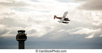 apoyo, avión, pontón, avión, vuelo, aeropuerto, torre de control, último