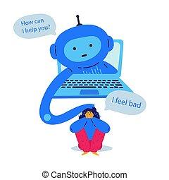 apoyo, charla, bot, psicológico, proporciona
