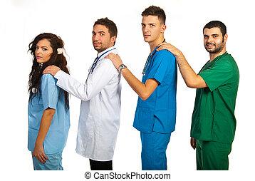 apoyo, doctors, equipo