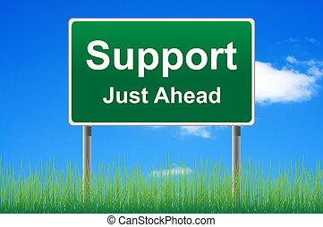 apoyo, muestra del camino, en, cielo, fondo., fondo, grass.