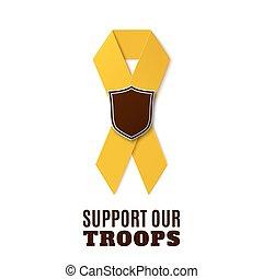 apoyo, nuestro, tropas, amarillo, ribbon.