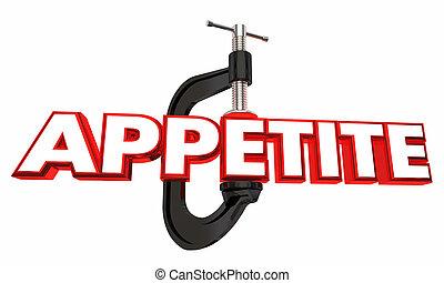 appétit, crampon, réduire, faim, régime, mot, 3d,...