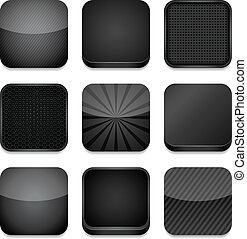 app, ícones, -, pretas
