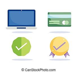 app, お金, 点検, ecommerce, カード, 銀行, クレジット, 印, 買い物, コンピュータ, モビール, 市場, オンラインで, 支払い