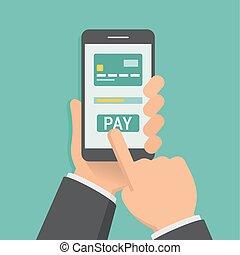 app, デザイン, 手を持つ, 移動式 電話, 平ら, 支払う, イラスト