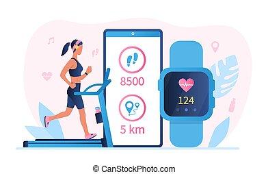 app, フィットネス, smartwatch, 概念, 技術