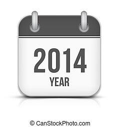 app, ベクトル, 年, 2014, 影, カレンダー, アイコン