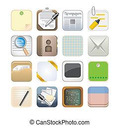 app, ペーパー, セット, アイコン