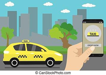 app, モビール, タクシー, 通り, 現代, サービス, スクリーン, 都市
