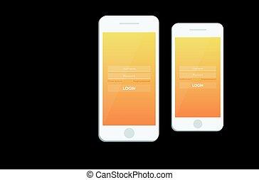 app., モビール, 材料, ui, スクリーン, gui., website., デザイン, 敏感, ログイン, ux