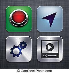 app, 広場, 現代, icons.