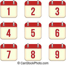 app, 日々, icons., 1, ベクトル, 9, カレンダー