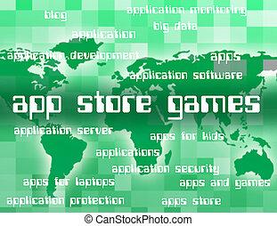 app, 販売, アプリケーション, ゲーム, 小売り店, ショー